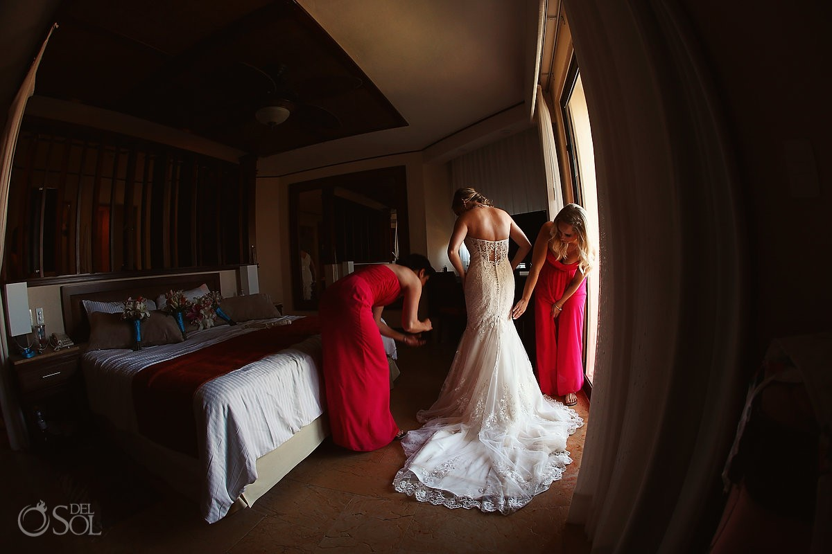 destination wedding Dreams Riviera Cancun getting ready bride dress
