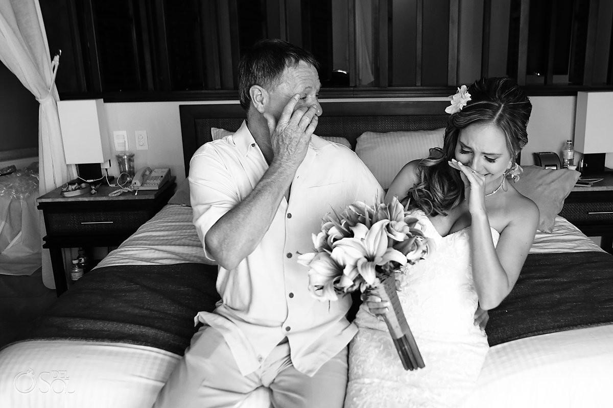 bride father candid family love moment Dreams Riviera Cancun