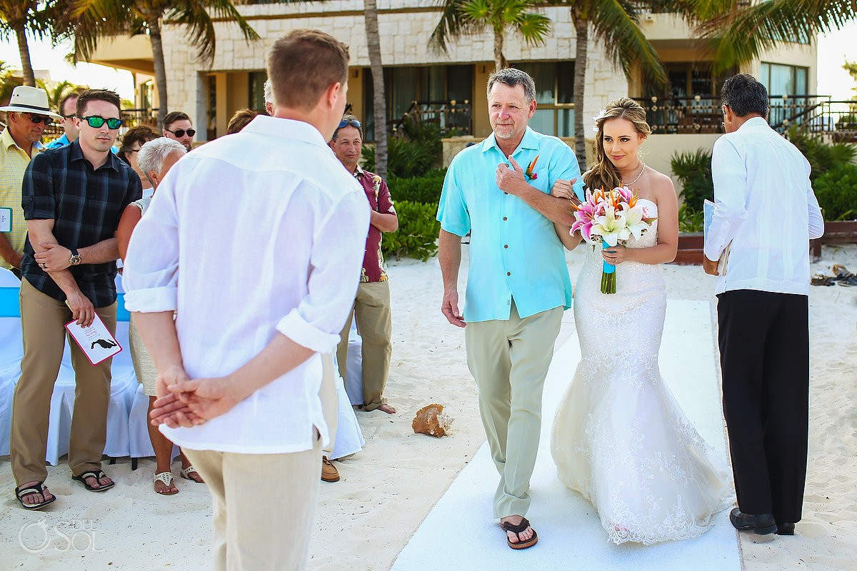 bride entrance beach wedding Dreams Riviera Cancun