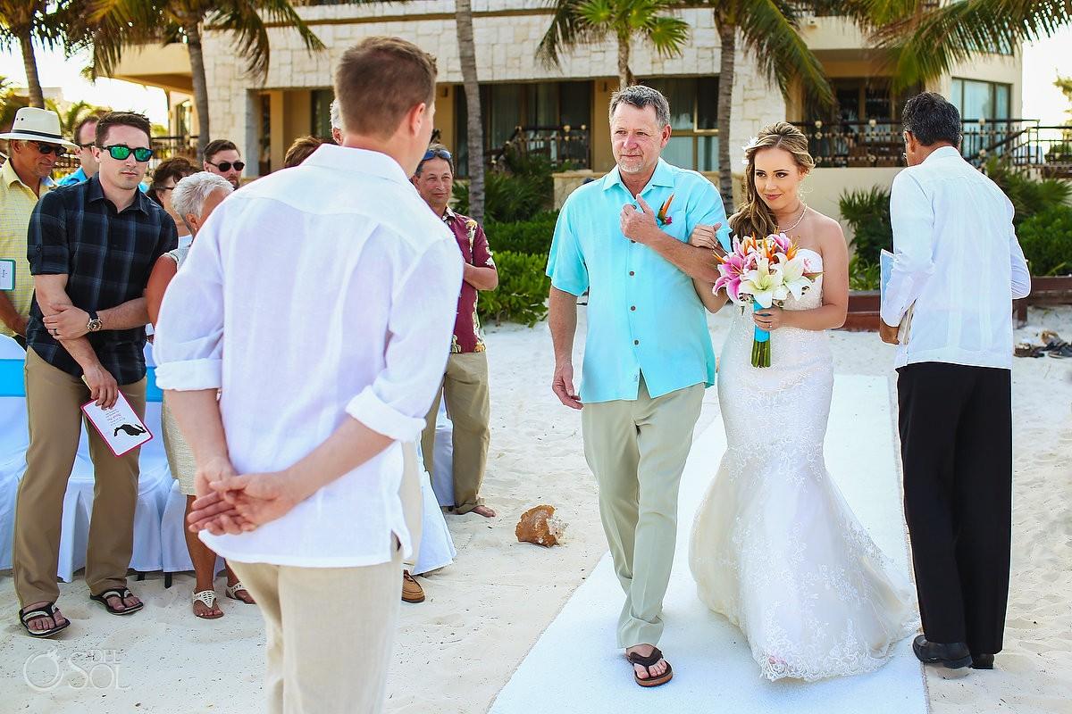 bride entrance beach wedding Dreams Riviera Cancun