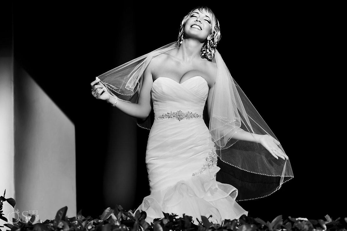 black white bride portrait Iberostar Paraiso Lindo, Riviera Maya, Mexico