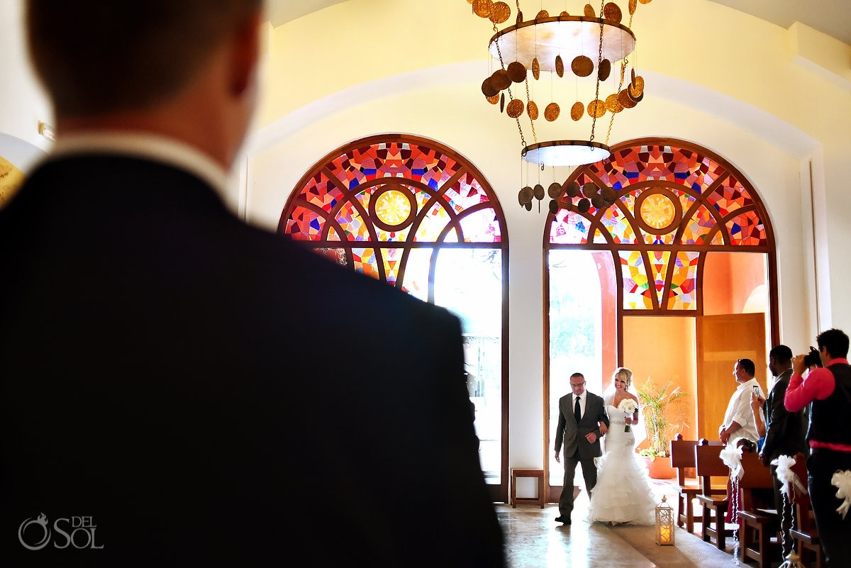 religious Church Wedding at Iberostar Paraiso Lindo Our Lady of the Paradise Chapel, bride entrance