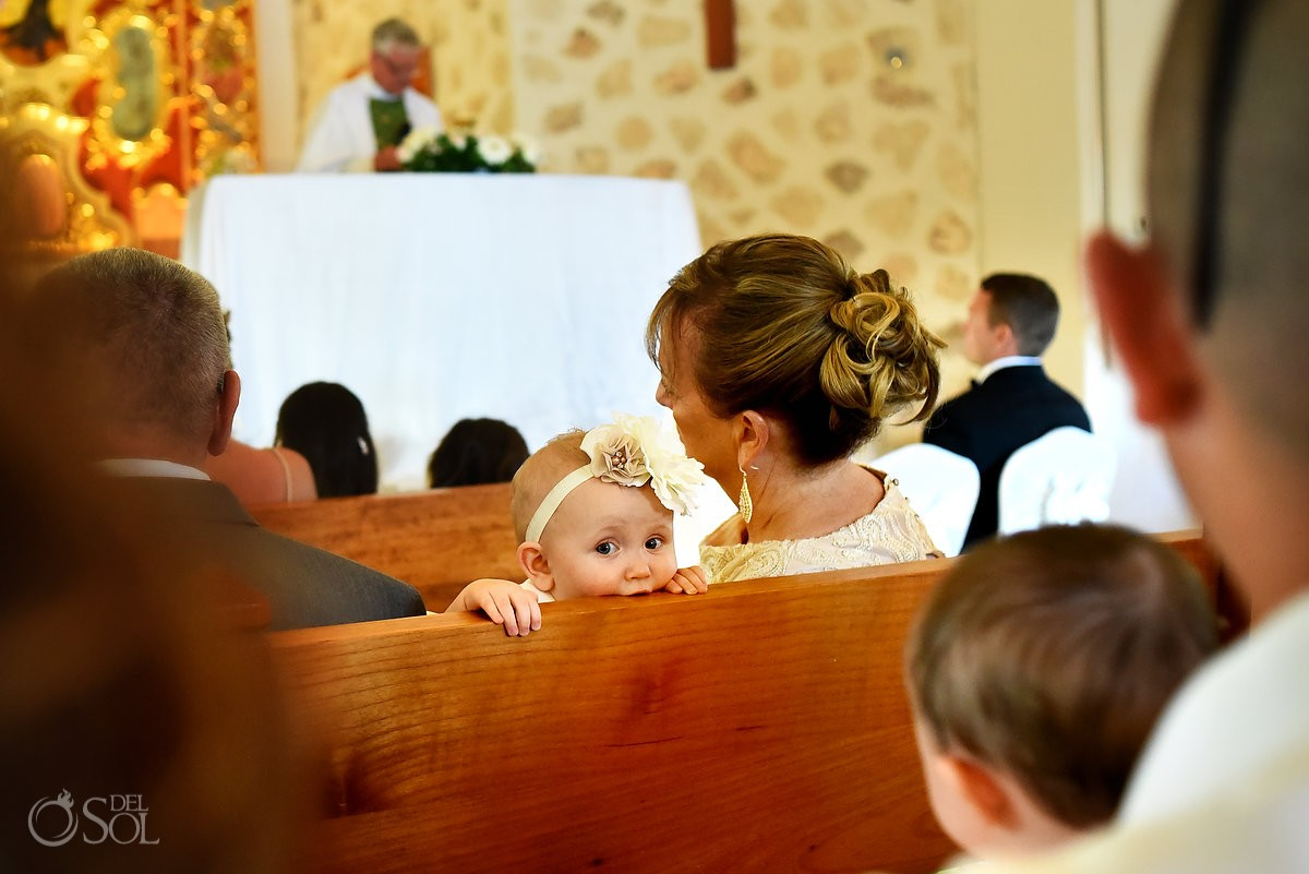 cute baby church wedding guest Iberostar Paraiso Lindo chapel our lady of paradise, Riviera Maya, Mexico