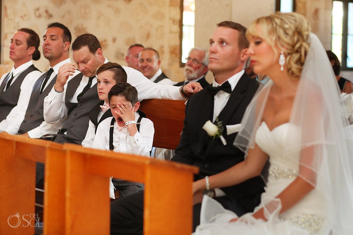 funny wedding picture Catholic mass Yawn Iberostar Paraiso Lindo chapel our lady of paradise, Riviera Maya, Mexico
