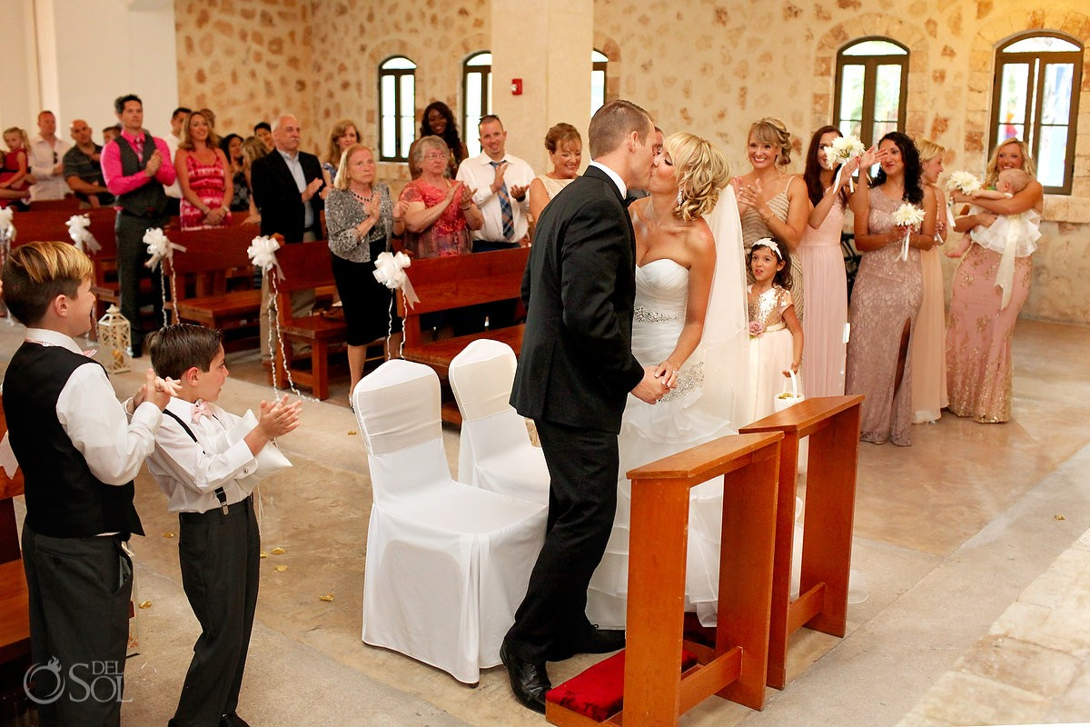 first kiss church wedding guest Iberostar Paraiso Lindo chapel our lady of paradise, Riviera Maya, Mexico