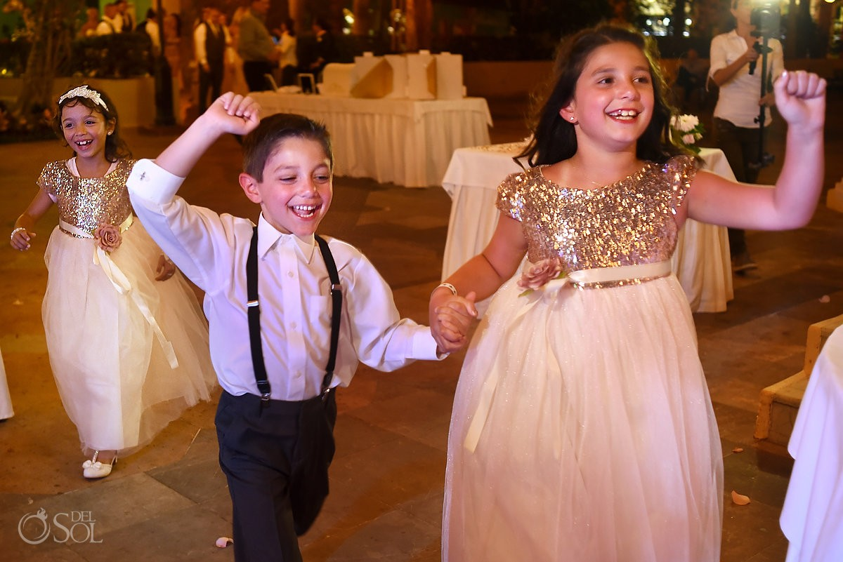 cute kids ring bearer flower girl wedding reception entrance, Iberostar Paraiso Lindo, Riviera Maya, Mexico