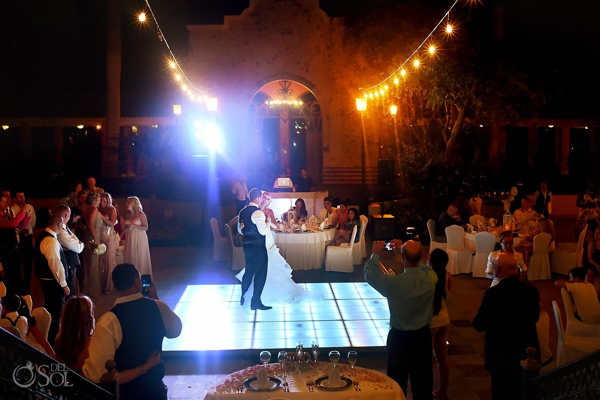 first dance destination wedding reception, Iberostar Paraiso Lindo centro commercial, Riviera Maya, Mexico