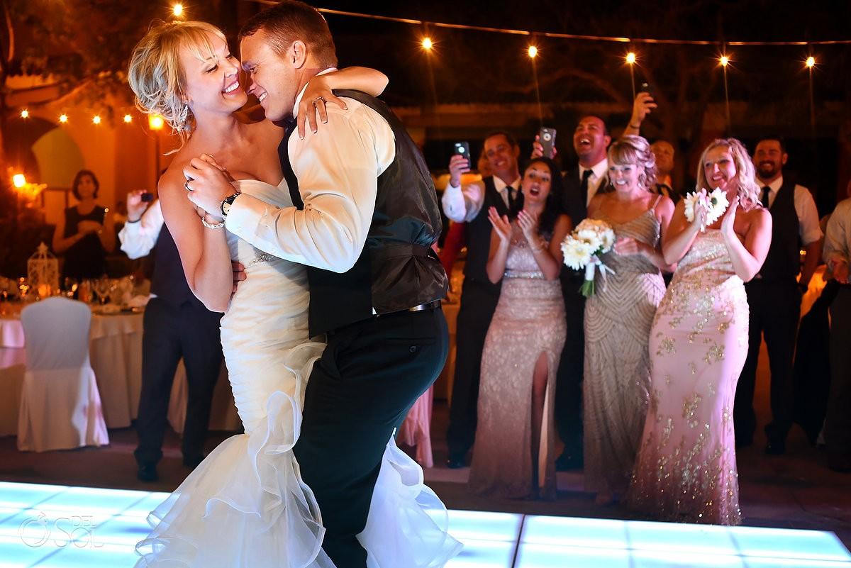 first dance destination wedding reception, Iberostar Paraiso Lindo centro commercial, Riviera Maya, Mexico