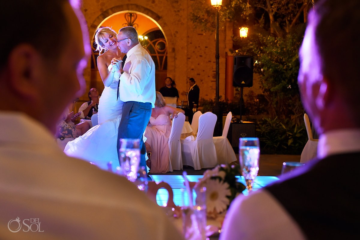 father daughter dance destination wedding reception, Iberostar Paraiso Lindo centro commercial, Riviera Maya, Mexico