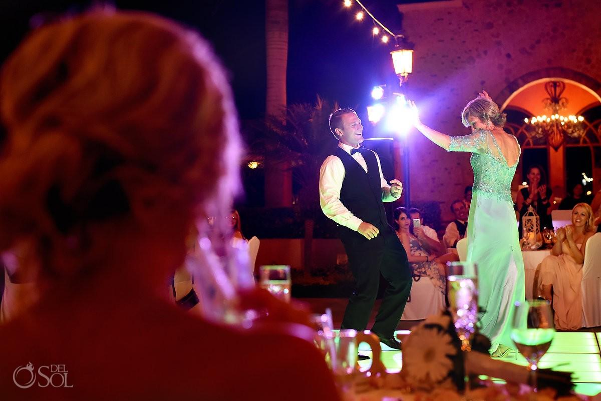 father mother dance destination wedding reception, Iberostar Paraiso Lindo centro commercial, Riviera Maya, Mexico