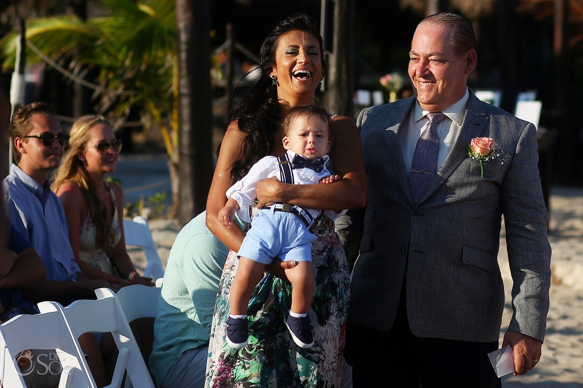 funny crying kid destination wedding Blue Venado Beach Club, Playa del Carmen, Mexico