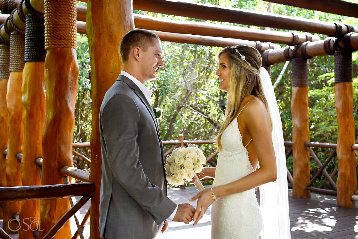 first look destination wedding bride and groom at Paradisus, Playa del Carmen
