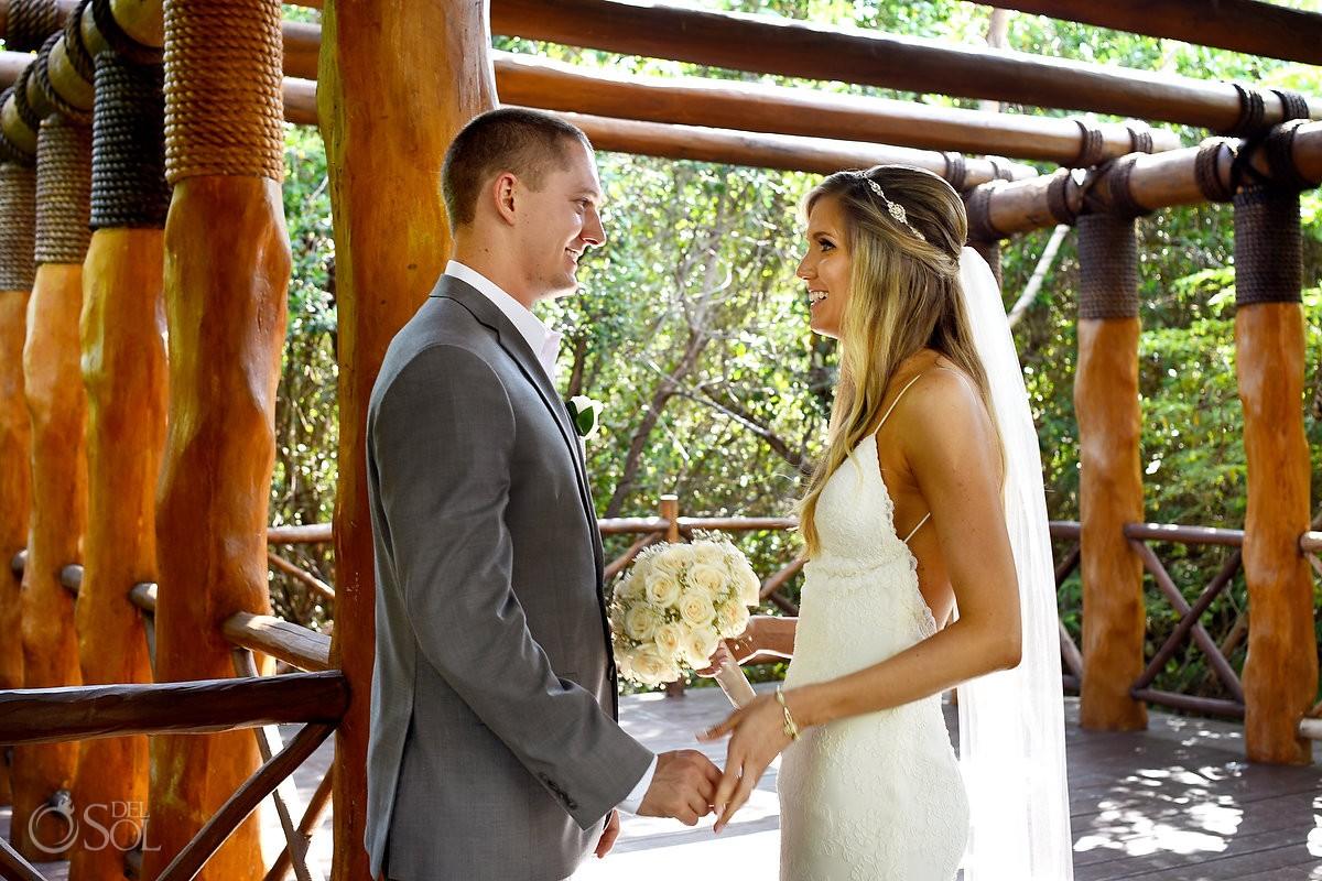 first look destination wedding bride and groom at Paradisus, Playa del Carmen