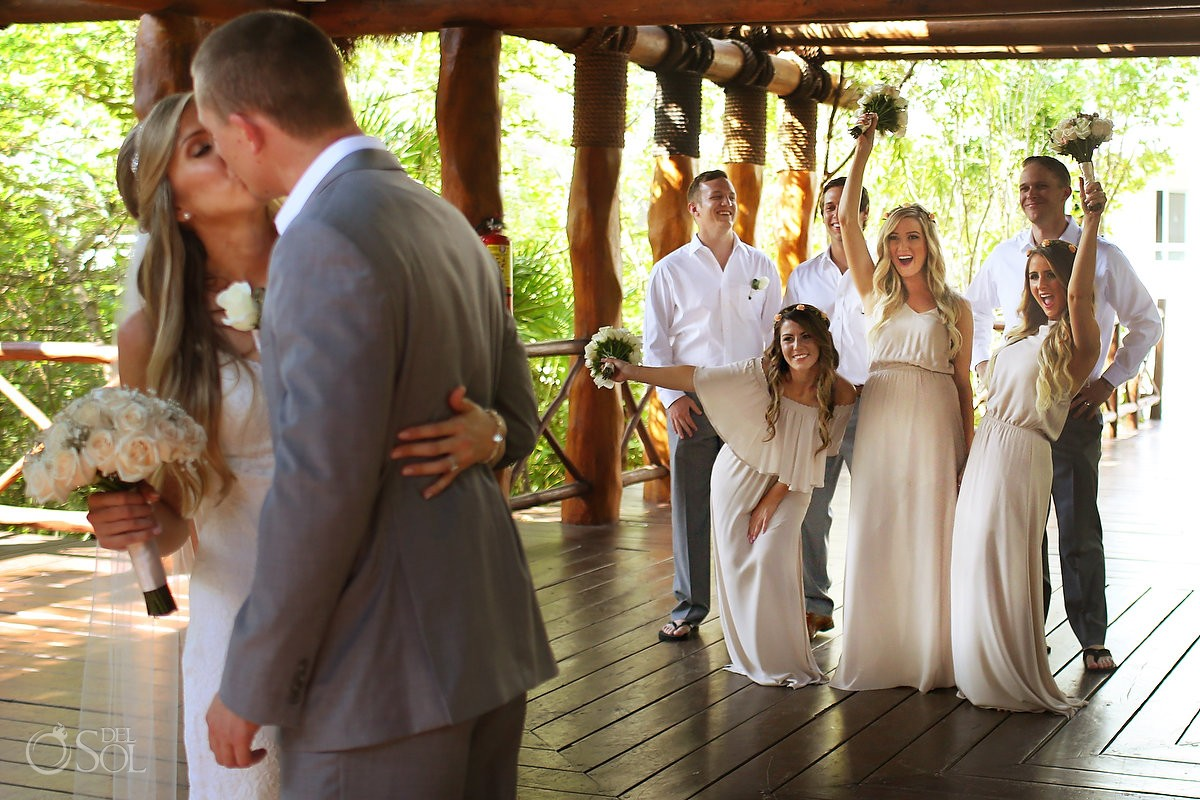 destination wedding bride and groom kiss at Paradisus, Playa del Carmen