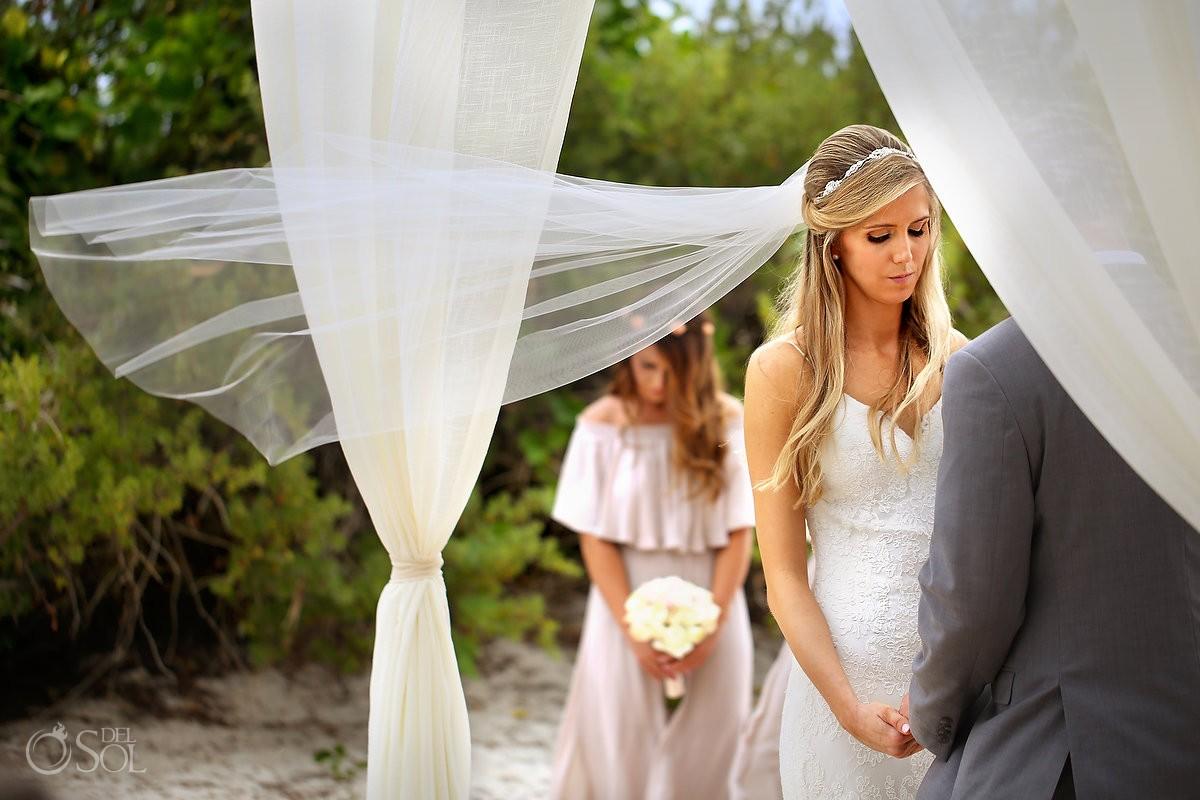 bride's veil flying for destination wedding Paradisus, Playa del Carmen