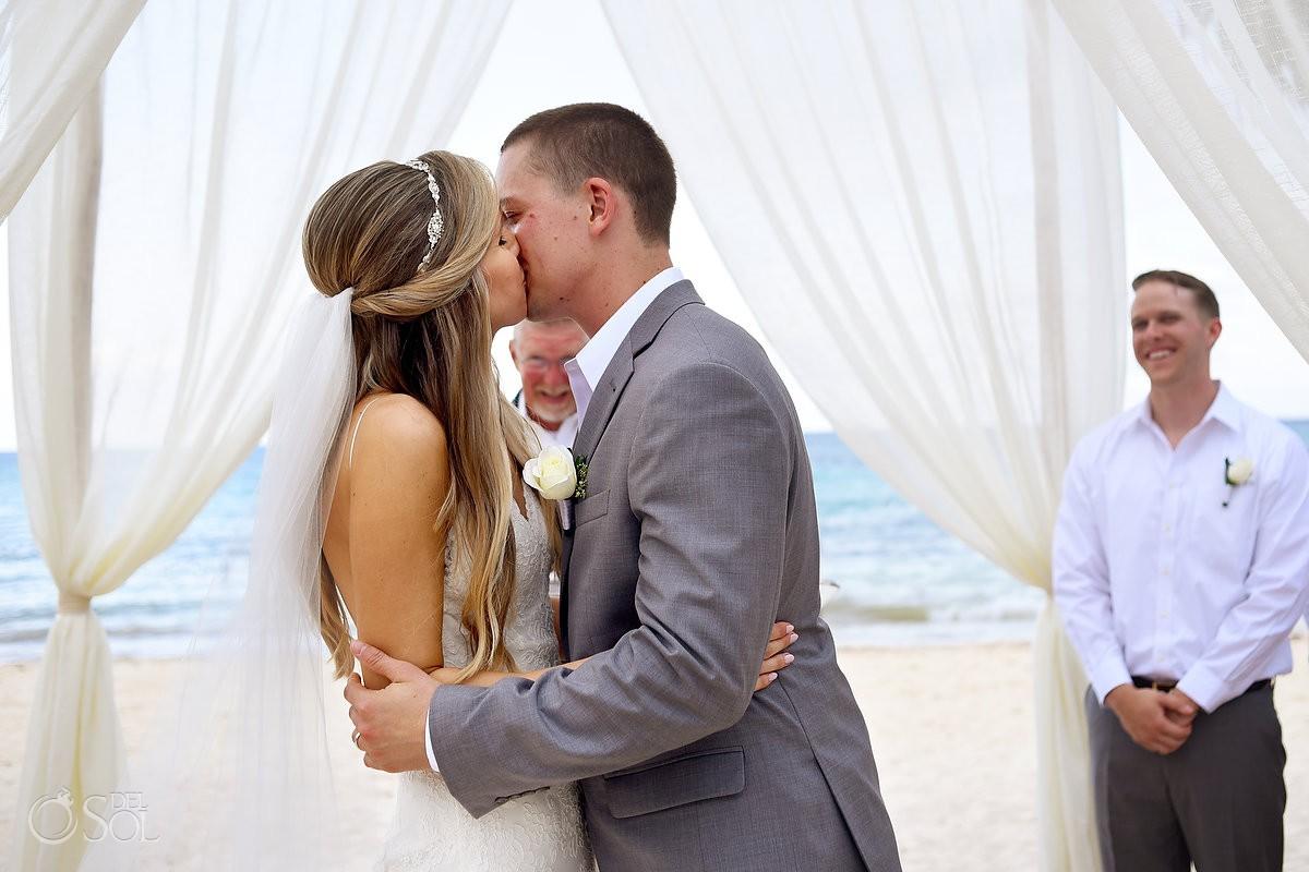 first kiss at destination wedding at playa del carmen mexico