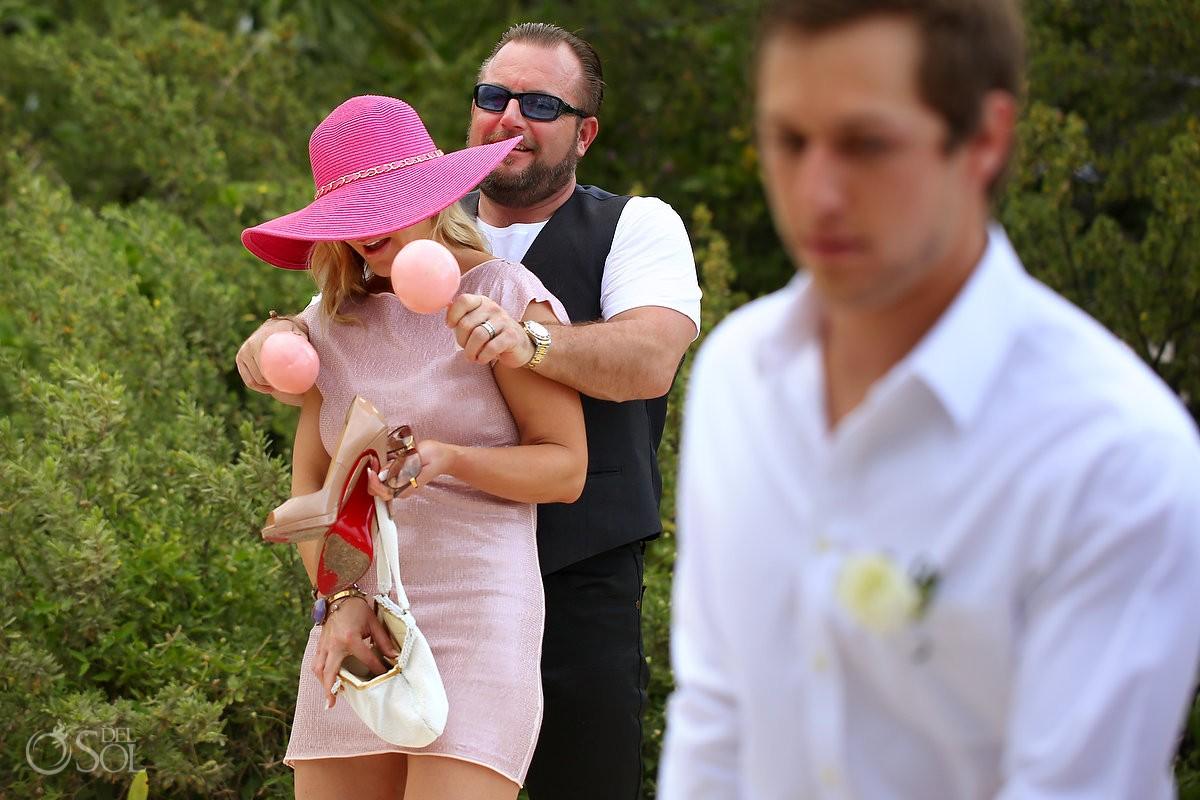destination wedding pink maracas