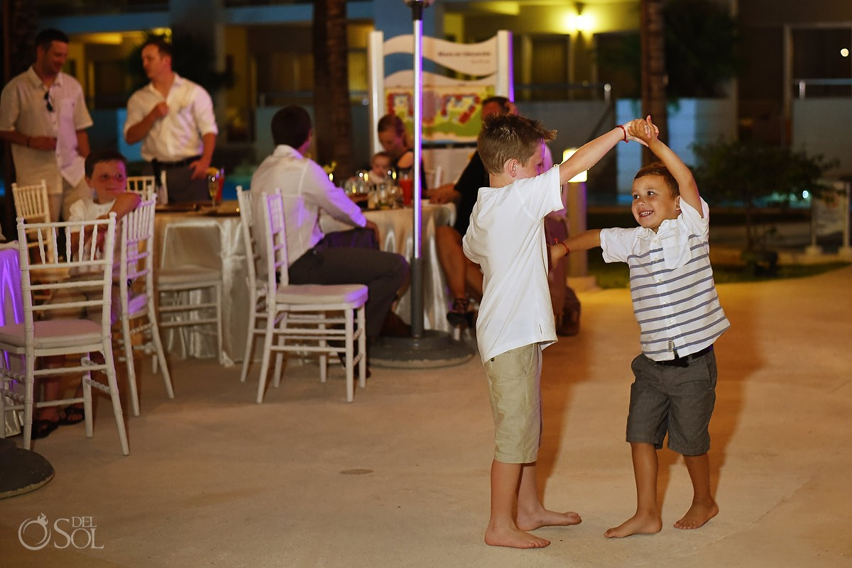 children dancing for destination wedding at paradisus hotel