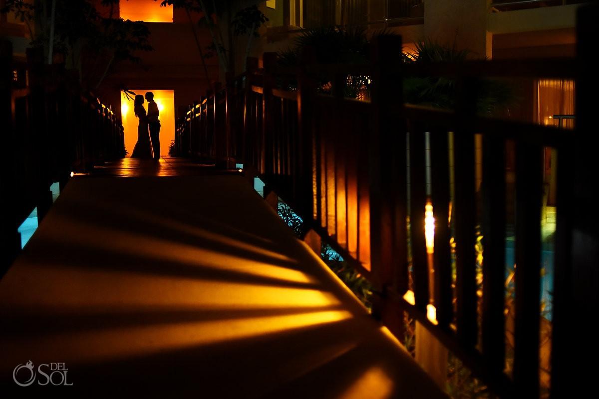 destination wedding photo of bride and groom at paradisus resort playa del carmen