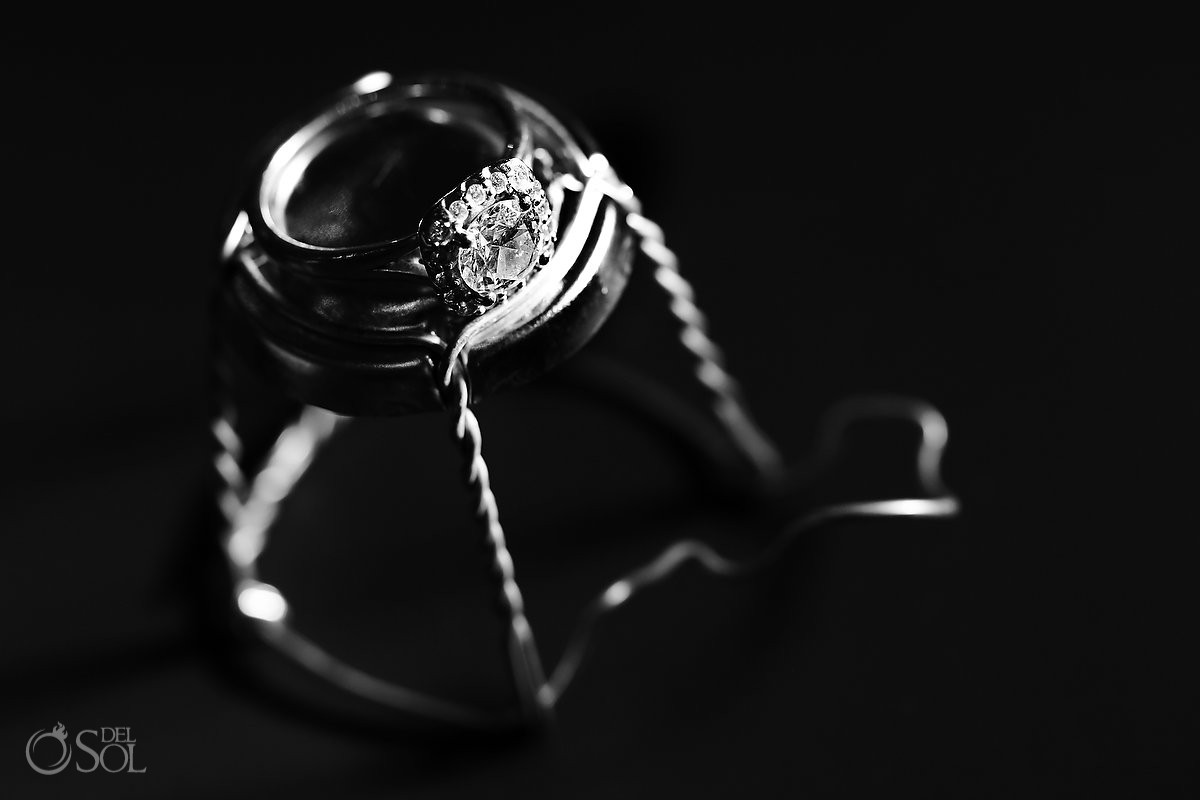 Creative engagement wedding ring photograph champagne cork black white
