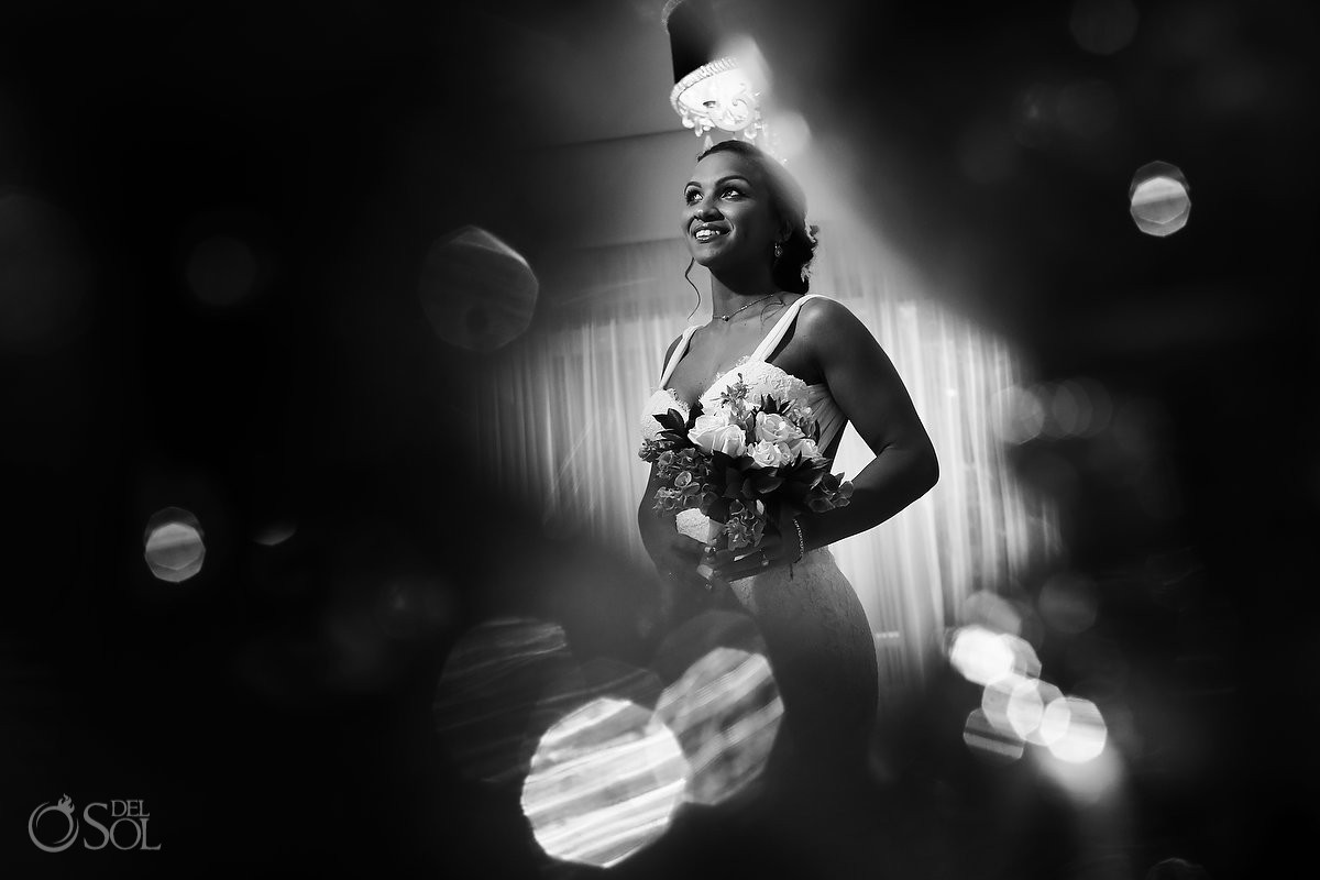 black white bridal bride wedding portrait getting ready Paradisus La Esmeralda, Playa del Carmen, Mexico