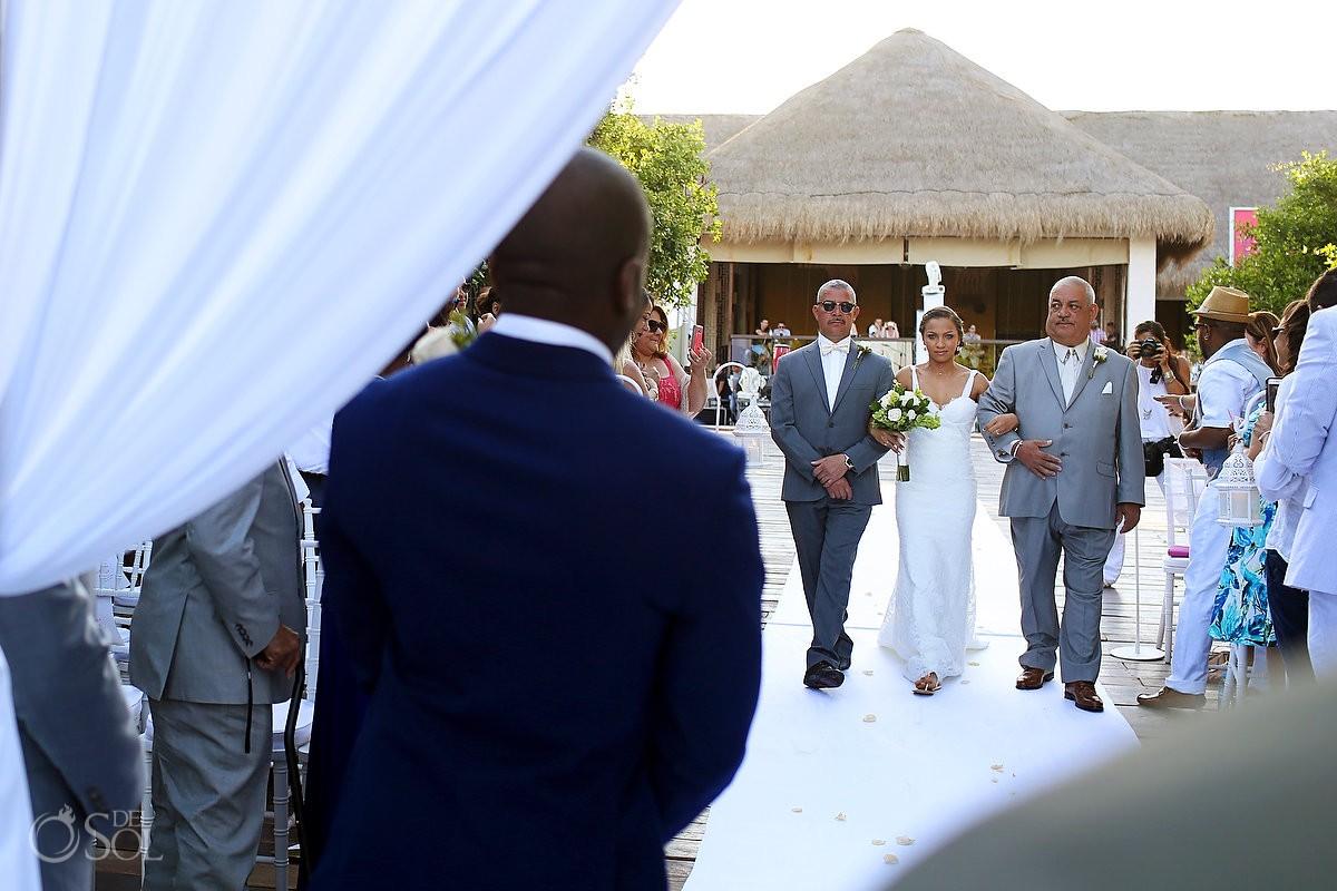 bride entrance processional destination wedding ceremony Gabi Bridge Paradisus, Playa del Carmen, Mexico
