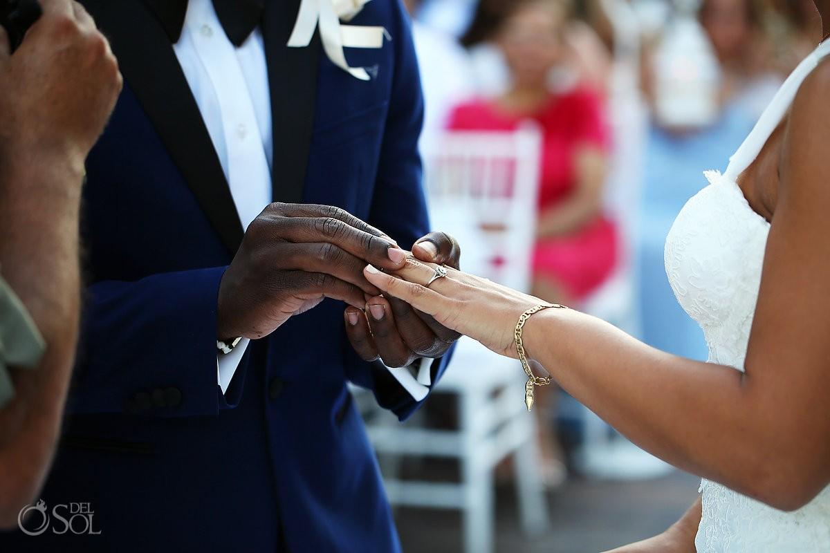 ring exchange destination wedding ceremony Gabi Bridge Paradisus, Playa del Carmen, Mexico