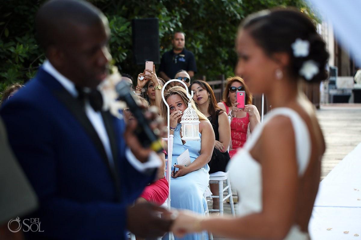 emotional wedding guest crying destination wedding ceremony Gabi Bridge Paradisus, Playa del Carmen, Mexico