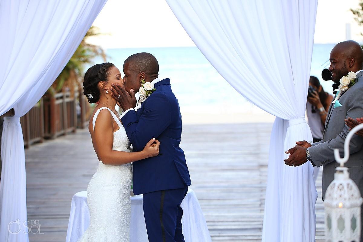first kiss destination wedding ceremony Gabi Bridge Paradisus, Playa del Carmen, Mexico