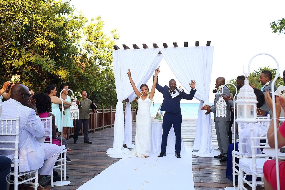 destination wedding ceremony exit celebration Gabi Bridge Paradisus, Playa del Carmen, Mexico