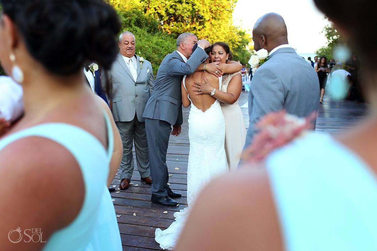 family love hugs congratulations destination wedding ceremony Gabi Bridge Paradisus, Playa del Carmen, Mexico