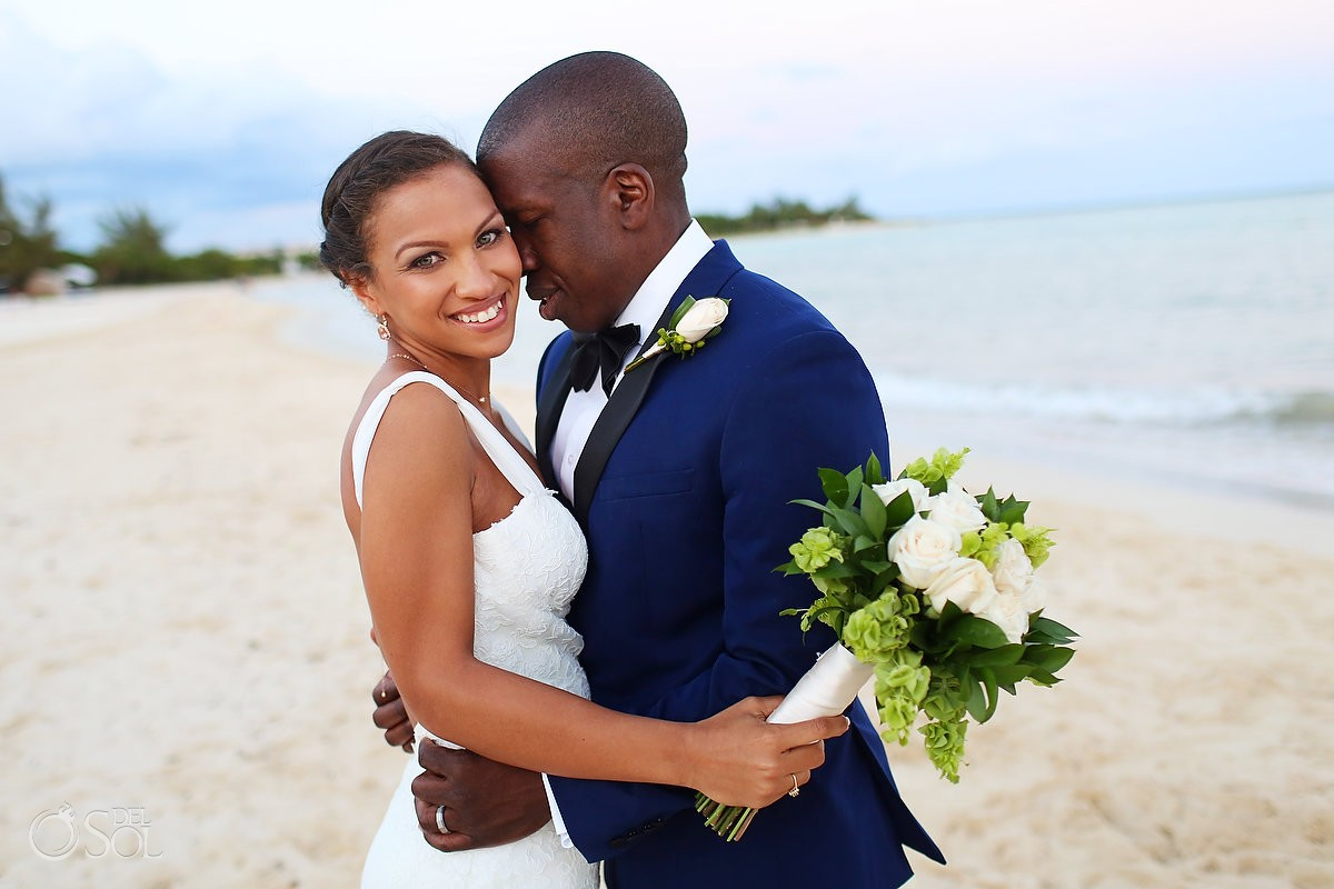 Beach destination wedding portrait Gabi Bridge Paradisus, Playa del Carmen, Mexico