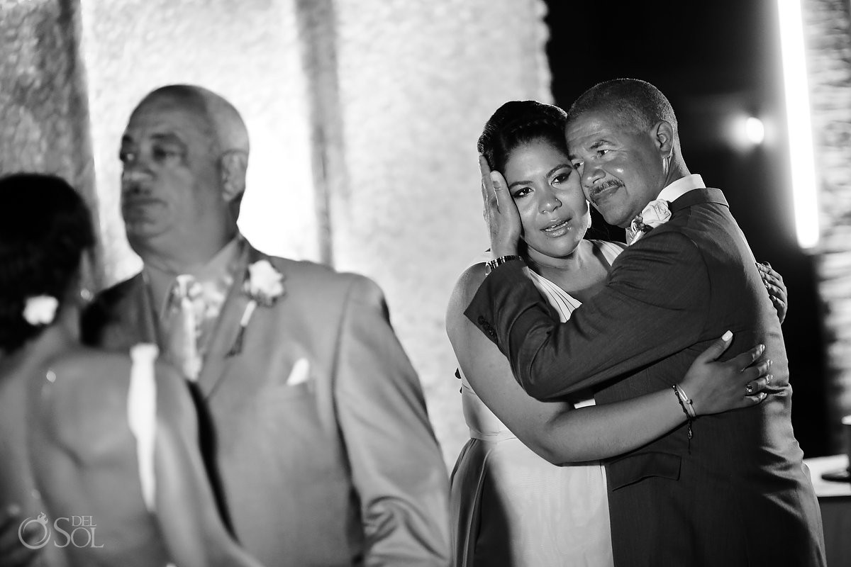 family love moment destination wedding reception entrance Paradisus La Esmeralda, Playa del Carmen, Mexico