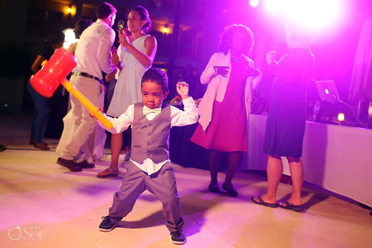 Cute kid destination wedding reception entrance Paradisus La Esmeralda, Playa del Carmen, Mexico