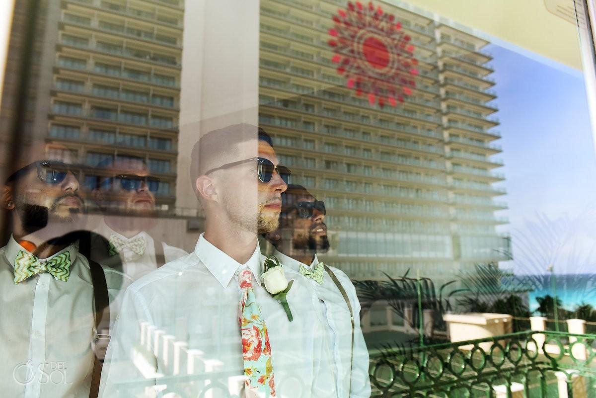 Creative groom groomsmen portrait reflection, destination wedding getting ready, Sandos Luxury Cancun, Mexico