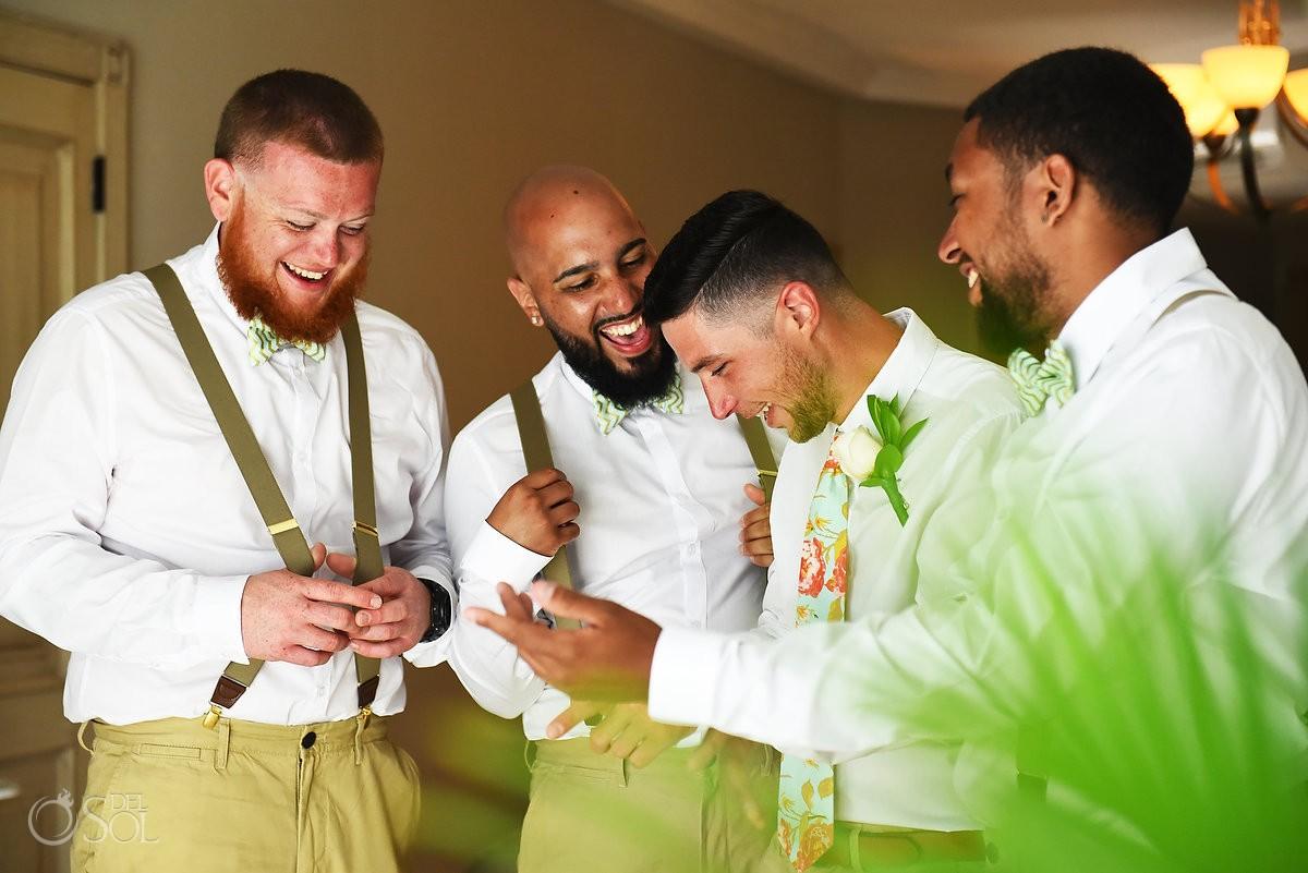 candid wedding photograph groom groomsmen, destination wedding getting ready, Sandos Luxury Cancun, Mexico