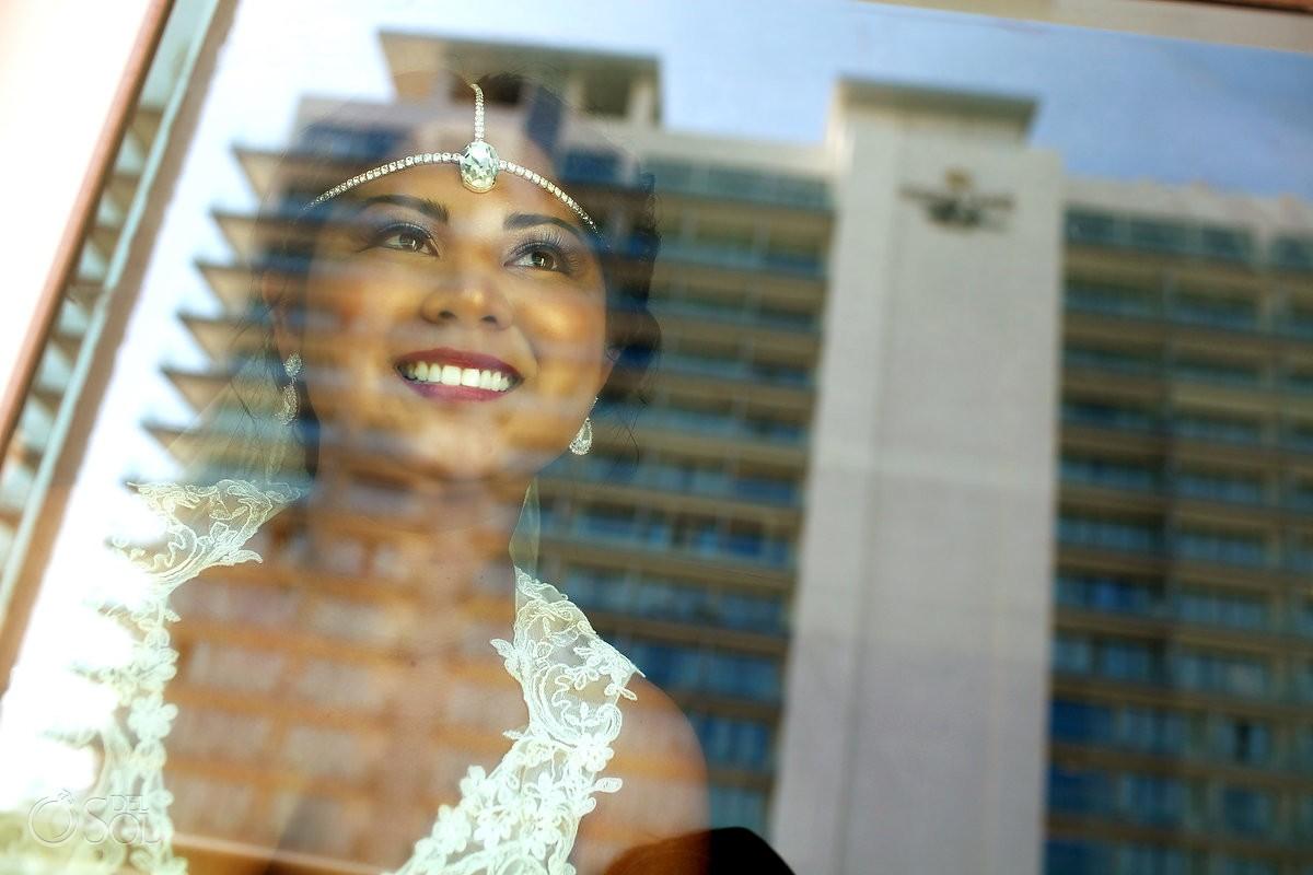 Artistic bridal portrait reflection, destination wedding getting ready, Sandos Luxury Cancun, Mexico