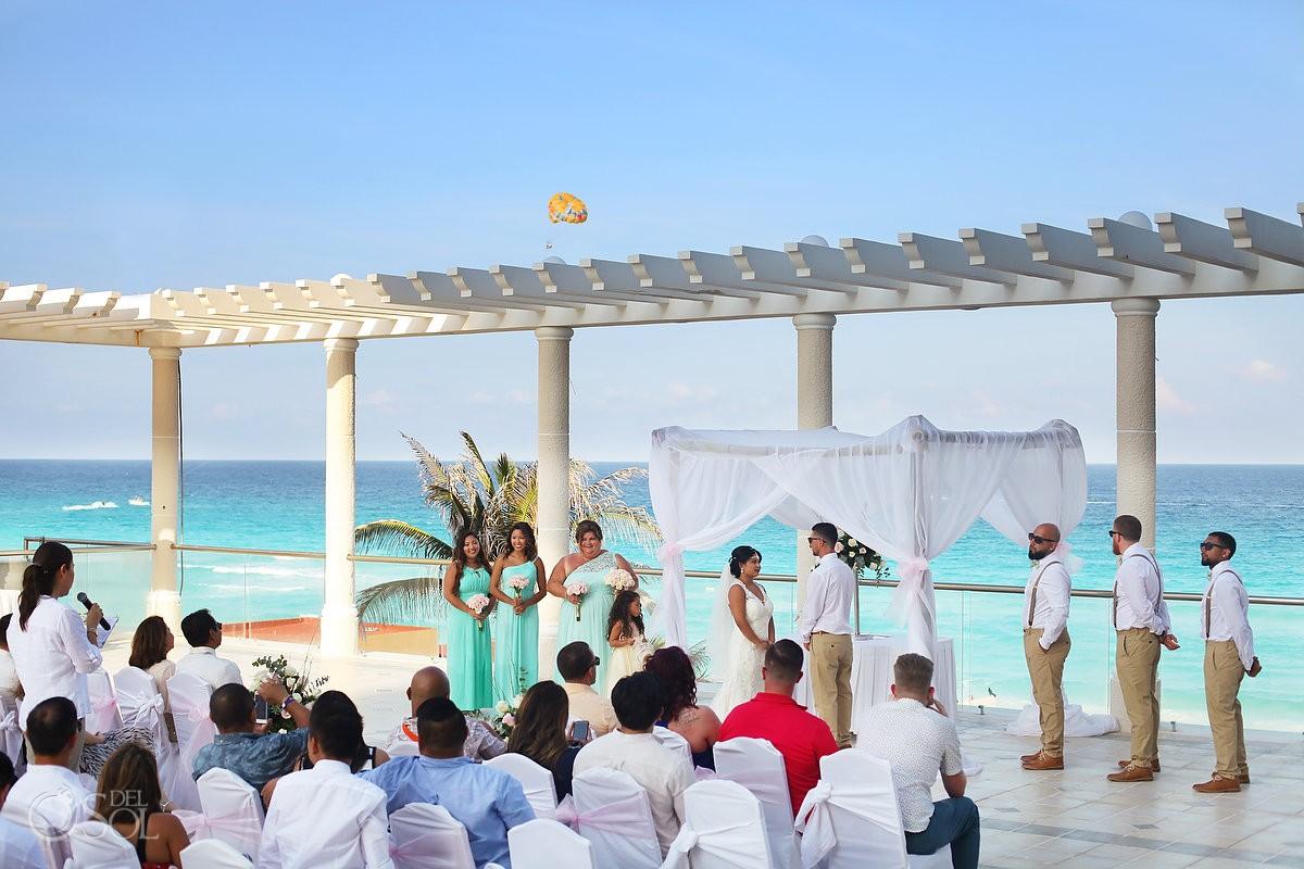 destination wedding ceremony Sandos Luxury Cancun rooftop