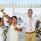 happy celebration, ceremony exit destination wedding Sandos Luxury Cancun rooftop