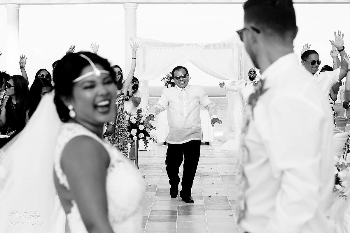 father bride celebration destination wedding Sandos Luxury Cancun rooftop
