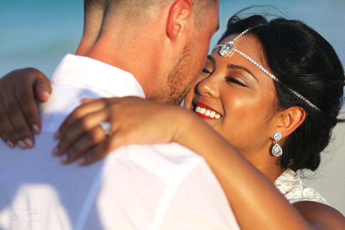 beach destination wedding portrait Sandos Luxury Cancun Mexico