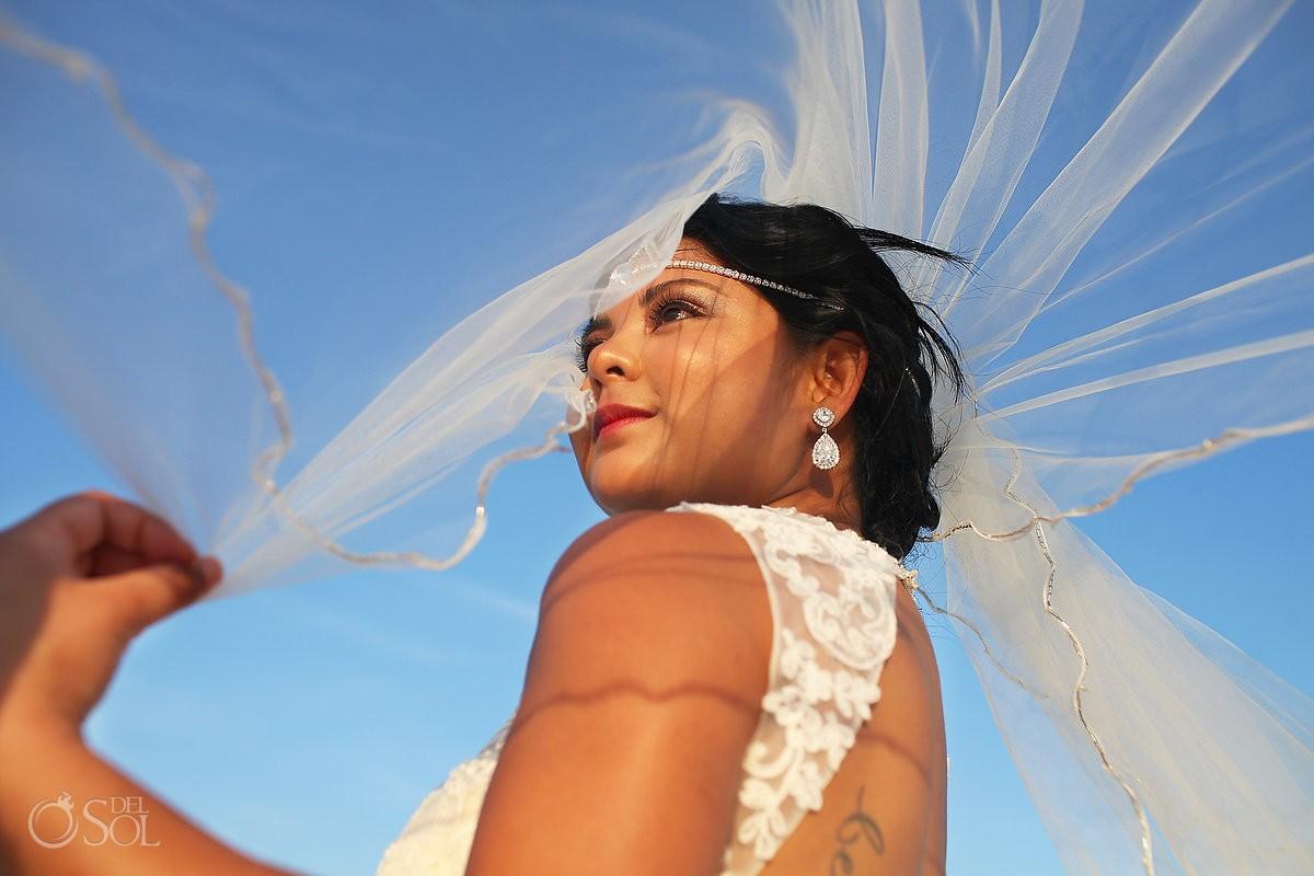 Bride veil destination wedding portrait Sandos Luxury Cancun Mexico