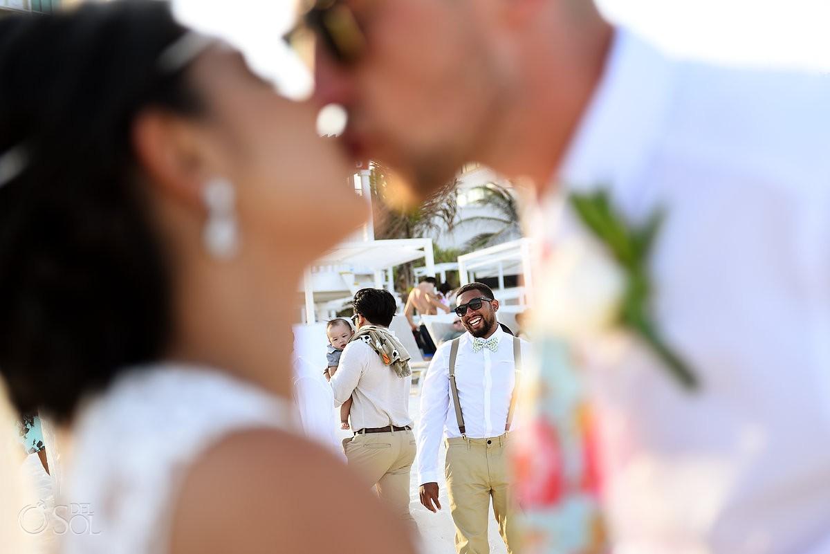 creative wedding portrait kiss beach Sandos Luxury Cancun Mexico