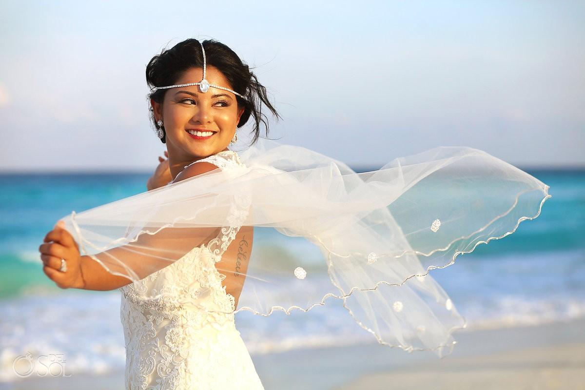 beach destination wedding portrait bride caribbean ocean Sandos Luxury Cancun Mexico