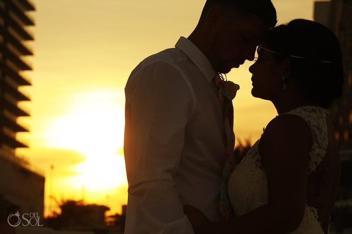 sunset beach destination wedding portrait silhouette Sandos Luxury Cancun Mexico