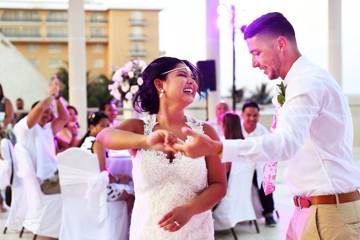 first dance destination wedding reception Sandos Luxury Cancun rooftop