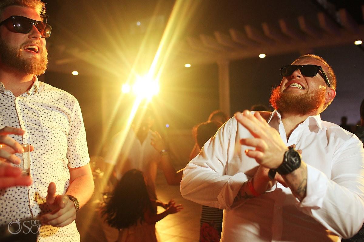 destination wedding reception fun dancing Sandos Luxury Cancun rooftop