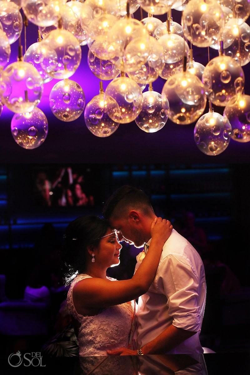 creative wedding portrait destination wedding reception Sandos Luxury Cancun rooftop