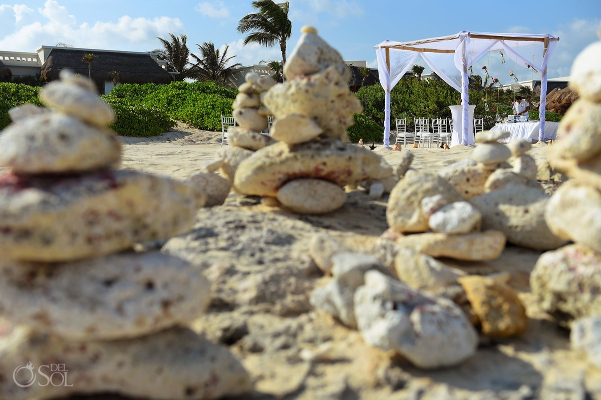 destination wedding beach ceremony set up, Valentin Imperial Maya