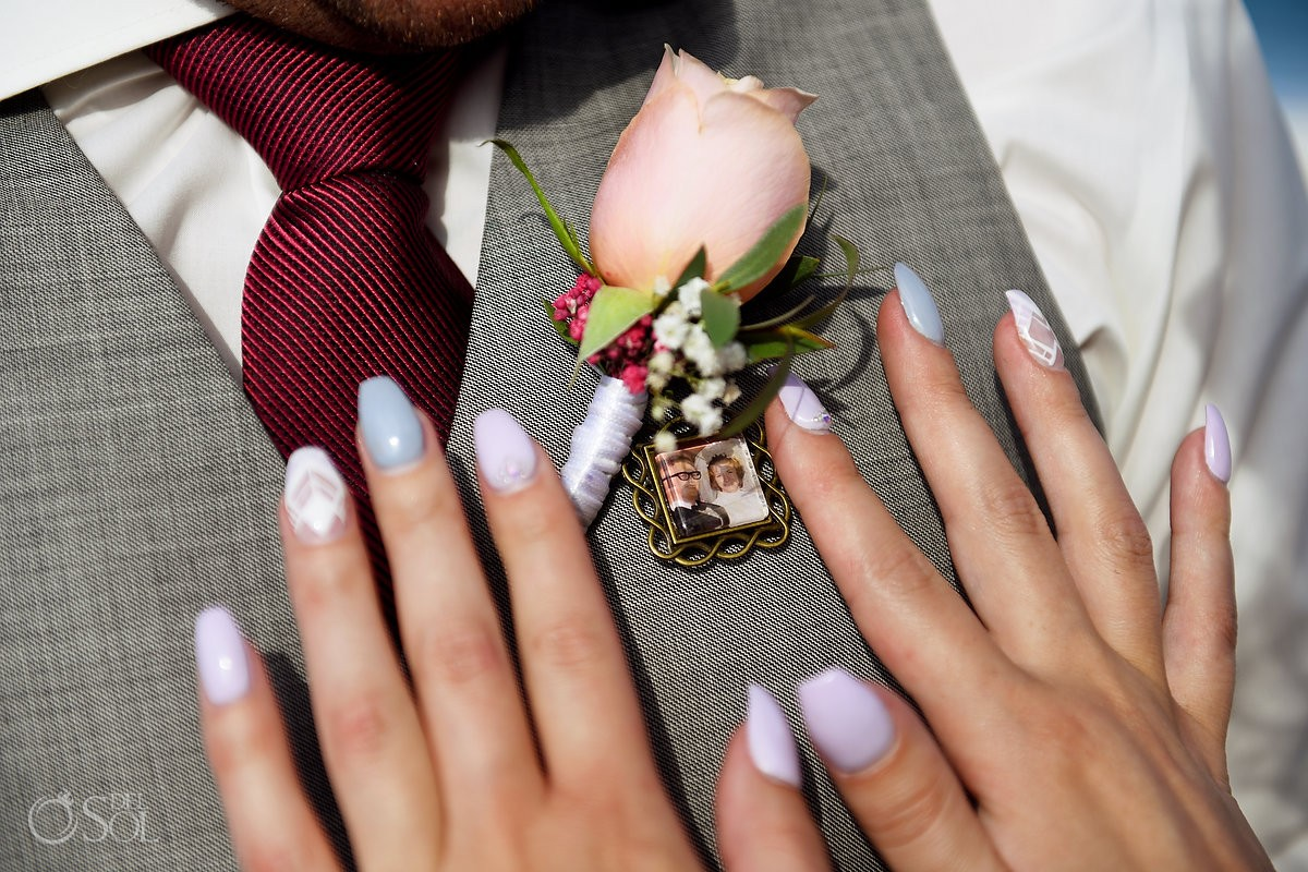 memory tribute wedding ideas groom parents portrait pin worn over heart boutonnier detail